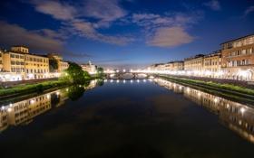 Картинка небо, ночь, огни, река, дома, вечер, Италия