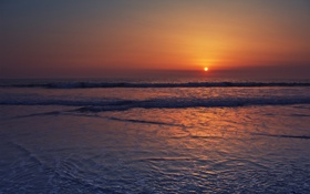 Картинка море, волны, вода, лучи, закат, побережье, пейзажи