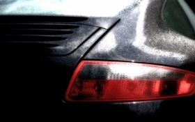 Обои машина, вода, капли, чёрный, фара, автомобиль, porsche