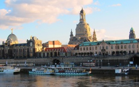 Картинка небо, облака, река, корабль, дома, Германия, Дрезден