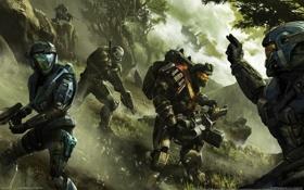 Картинка оружие, солдаты, команда, жест, halo, хало, reach