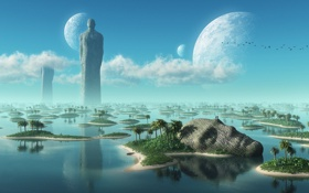 Картинка облака, тропики, острова, небо, статуя, вода, море