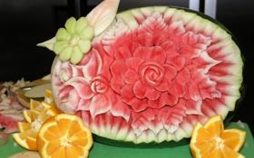 Обои ягода, цветок, цитрус, фрукты, апельсин, арбуз
