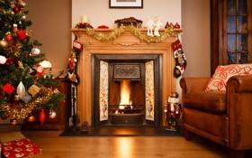 Обои зима, комната, огонь, игрушки, елка, кресло, Новый Год