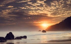 Картинка море, облака, камни, рассвет