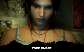 Обои Tomb Raider, girl, Square Enix, headphones, 2560x1600, Lara Croft, 2013