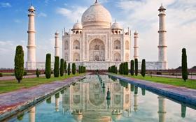 Обои замок, Индия, памятник, храм, Taj Mahal, Тадж Махал, Agra