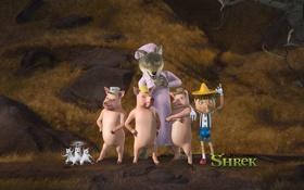 Обои мультфильм, шрек 4, свиньи, волчица, няня