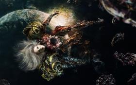 Картинка девушка, космос, звезды, осколки, волосы, планета, арт