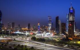 Обои ночь, город, Kuwait
