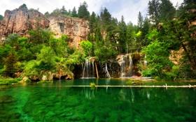 Обои США, скалы, Glenwood Canyon, озеро, деревья, водопад, Colorado