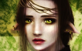 Обои глаза, взгляд, девушка, лицо, фон, волосы, серьги