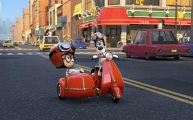 Обои Mr. Peabody, Sherman, Приключения мистера Пибоди и Шермана, очки, улица, мультфильм, мотоцикл