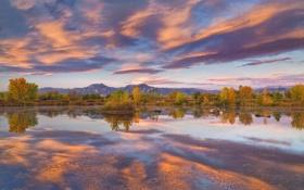 Картинка лес, осень, Природа, пейзаж, горы, озеро
