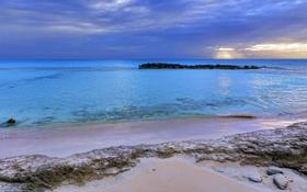Картинка песок, море, закат, тучи, скалы
