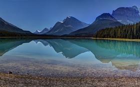 Картинка лес, горы, отражение, небо, озеро