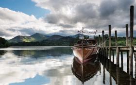 Картинка пейзаж, озеро, лодка, пристань