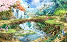Картинка горы, мост, природа, девушки, водопад, арт, touhou