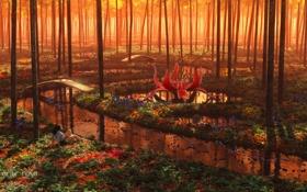 Картинка лес, трава, вода, девушка, деревья, цветы, мост