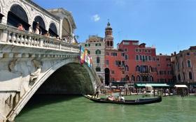 Обои лодка, дома, Италия, Венеция, канал, гондола, мост Риальто