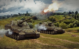 Обои выстрел, танк, USSR, СССР, танки, артиллерия, WoT