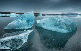 Картинка лед, море, берег, Исландия, глыба