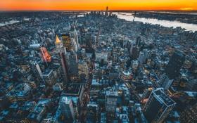 Обои закат, город, дома, небоскребы, USA, NYC, панорамма