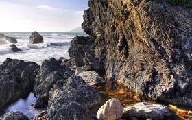Обои море, волны, брызги, природа, камни, скалы, прибой