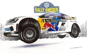 Картинка Зима, Рисунок, Белый, Снег, Спорт, Volkswagen, Машина
