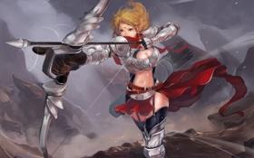 Картинка девушка, оружие, доспехи, лук, эльфийка, стрелы, art