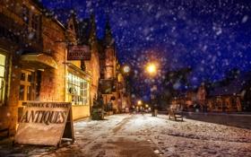 Обои город, снег, ночь, улица