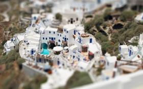 Картинка дома, белые, Tilt-Shift, греция, санторини