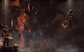 Обои огонь, дракон, меч, демон, воин, подземелье