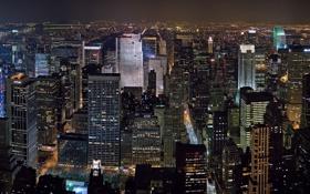 Обои свет, ночь, city, здания, Нью-Йорк, иллюминация, New