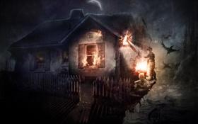 Картинка птицы, ночь, дети, дом, пожар, забор, горит