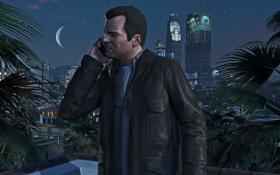 Обои Michael De Santa, GTA V, Game, Nigth, Phone, City, Grand Theft Auto V
