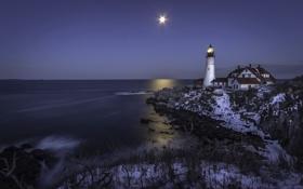 Обои море, ночь, маяк