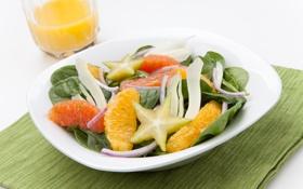 Обои зелень, апельсин, лук, orange, салат, greens, onions