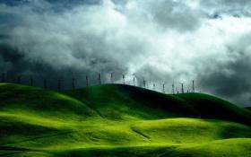 Обои трава, пейзажи, обои, мельницы, фото