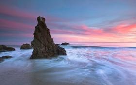 Картинка море, пляж, небо, скалы, утро