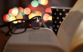 Обои Очки, Книга, Чашка, Боке