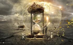 Обои листья, время, креатив, ветер, пустыня, скрипка, человек