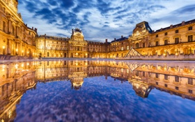 Обои вода, отражение, Франция, Париж, здание, Лувр, Paris