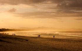 Картинка море, волны, пляж, небо, пейзаж, природа, люди