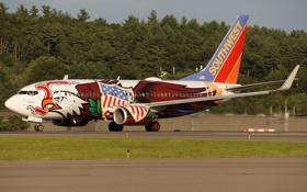 Обои аэродром, раскраска, самолёт, реактивный, готовность к взлёту, пассажирский, взлётное поле