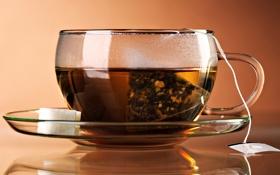 Картинка чай, чашка, блюдце, пакетик