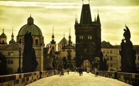 Обои люди, дома, Прага, Чехия, Карлов мост
