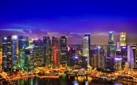 Обои ночь, небоскребы, Сингапур, огни