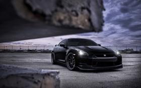 Обои небо, чёрный, тюнинг, GTR, суперкар, Nissan, ниссан
