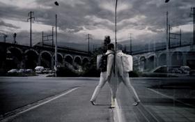 Обои ночь, стиль, отражение, Город, нуар